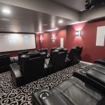 Home movie theater carpet and platform seating in Northville, Michigan