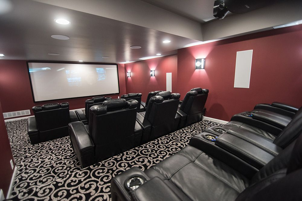 home movie theater carpet and platform seating