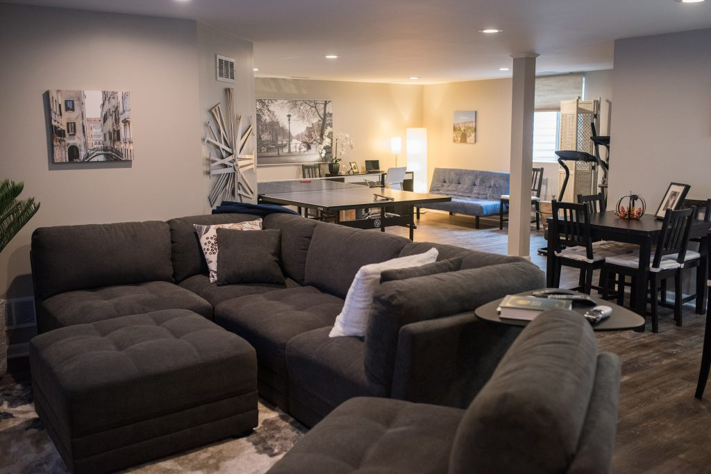 Novi Michigan finished basement with living room office and bar area