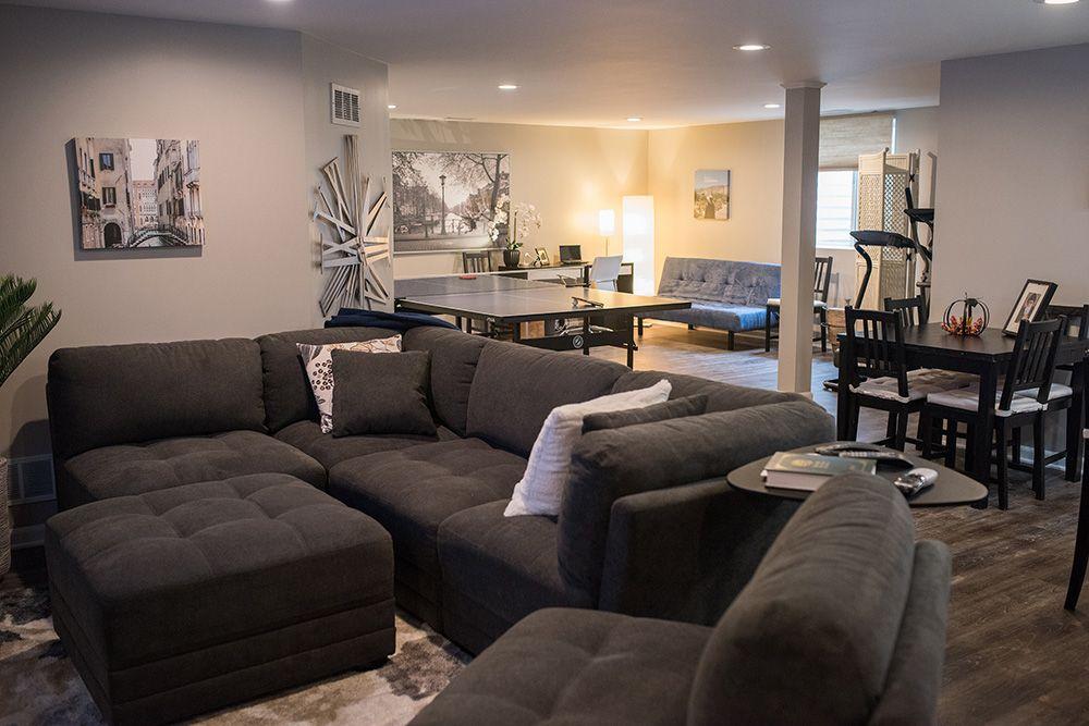 Modern finished basement in Novi, Michigan