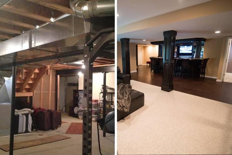custom bar and living room in novi michigan finished basement