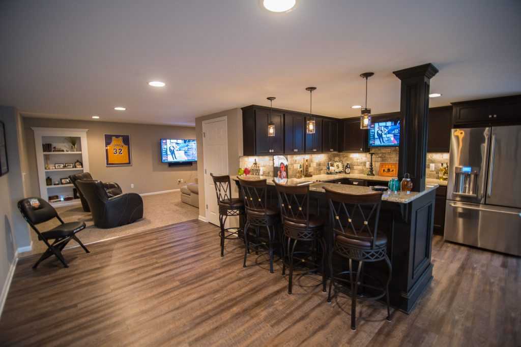 novi michigan finished basement walkout vinyl plank flooring and custom bar