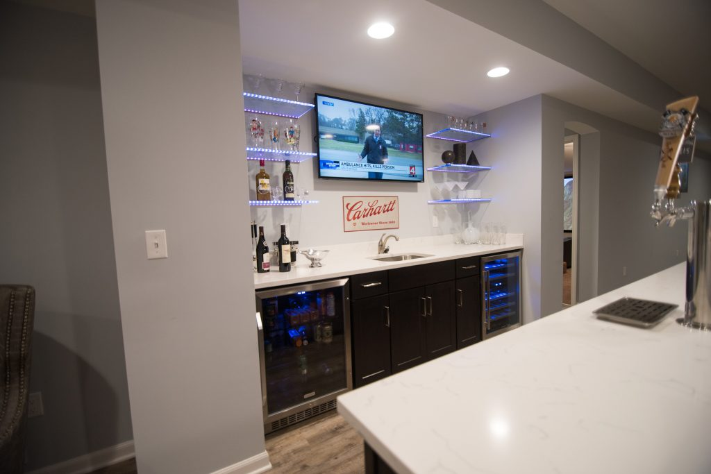 bright open bar with led shelving for a dramatic look
