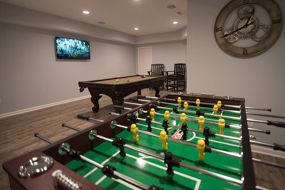 Novi, Michigan Finished Basement project with modern clean design
