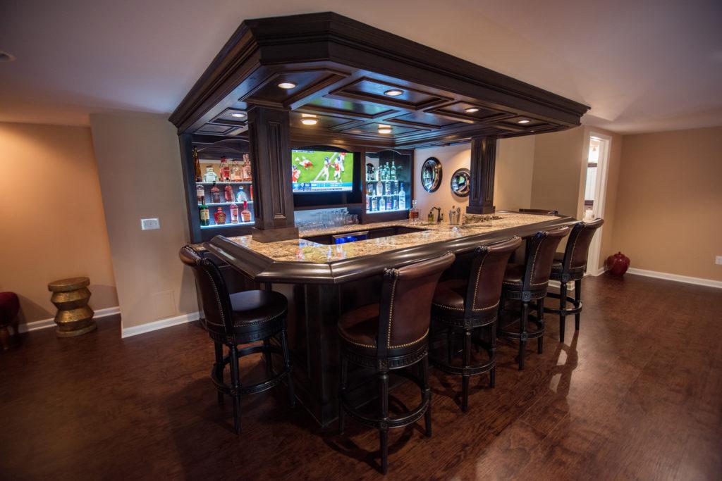 large custom pub style home bar led lighting