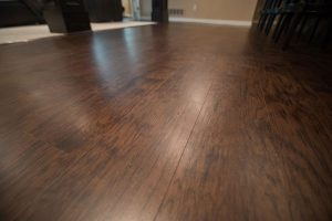 hickory colored vinyl plank basement flooring