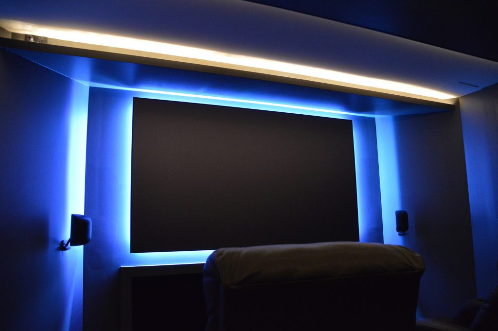basement movie theater with led lighting in basement