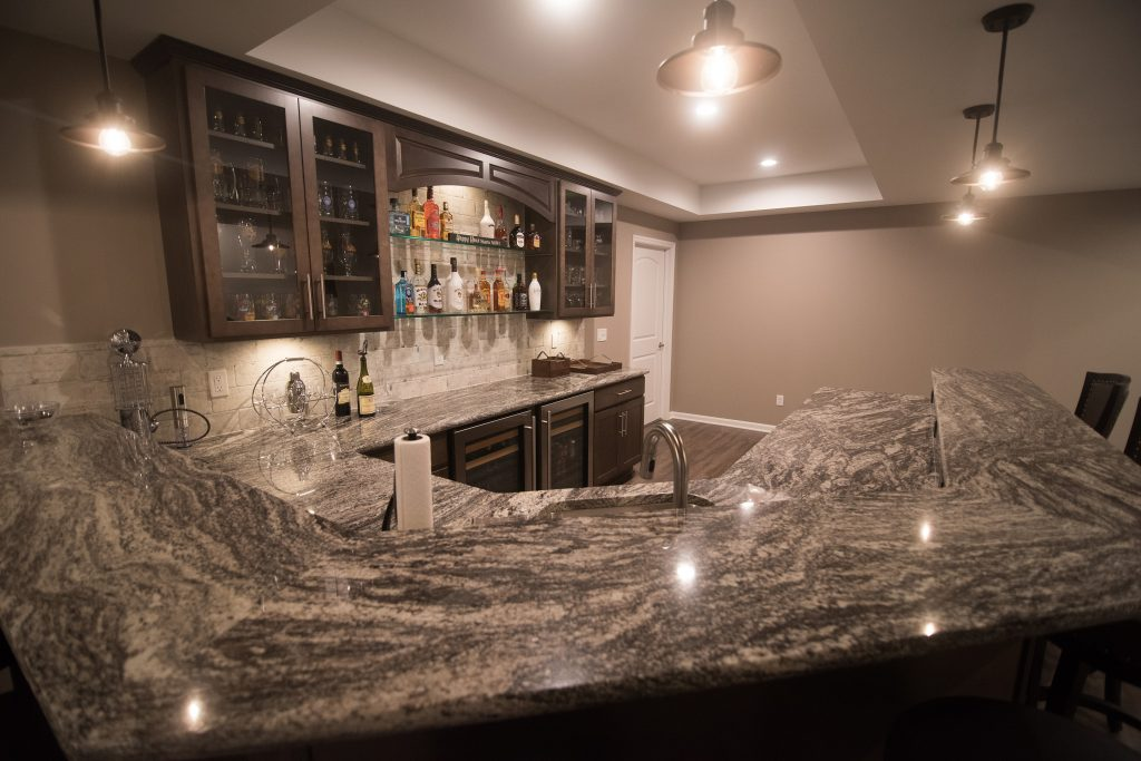 unique granite in basement bar