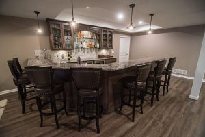 led lighting both recessed and pendant lighting basement bar