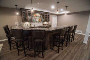 led lighting both recessed and pendant lighting basement bar