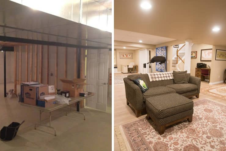 plymouth michigan finished basement before and after bright open design
