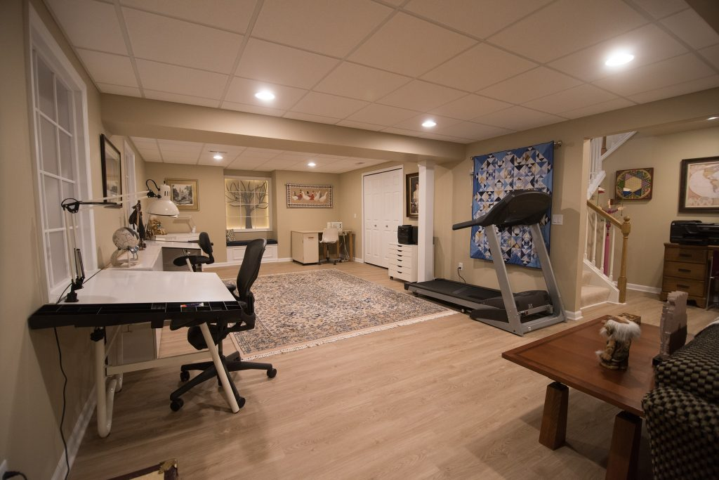 finished basement with studio space and living room