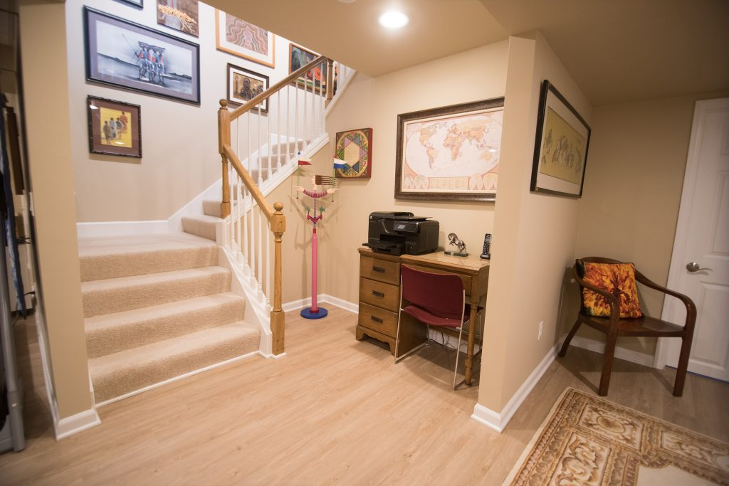 basement staircase with open railing