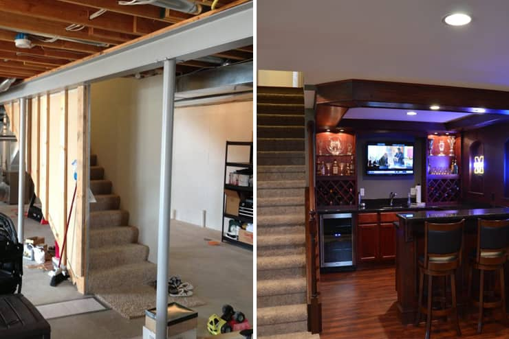 rochester michigan finished basement before and after dark cabinets