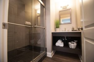basement bathroom with spa like look and feel floating vanity
