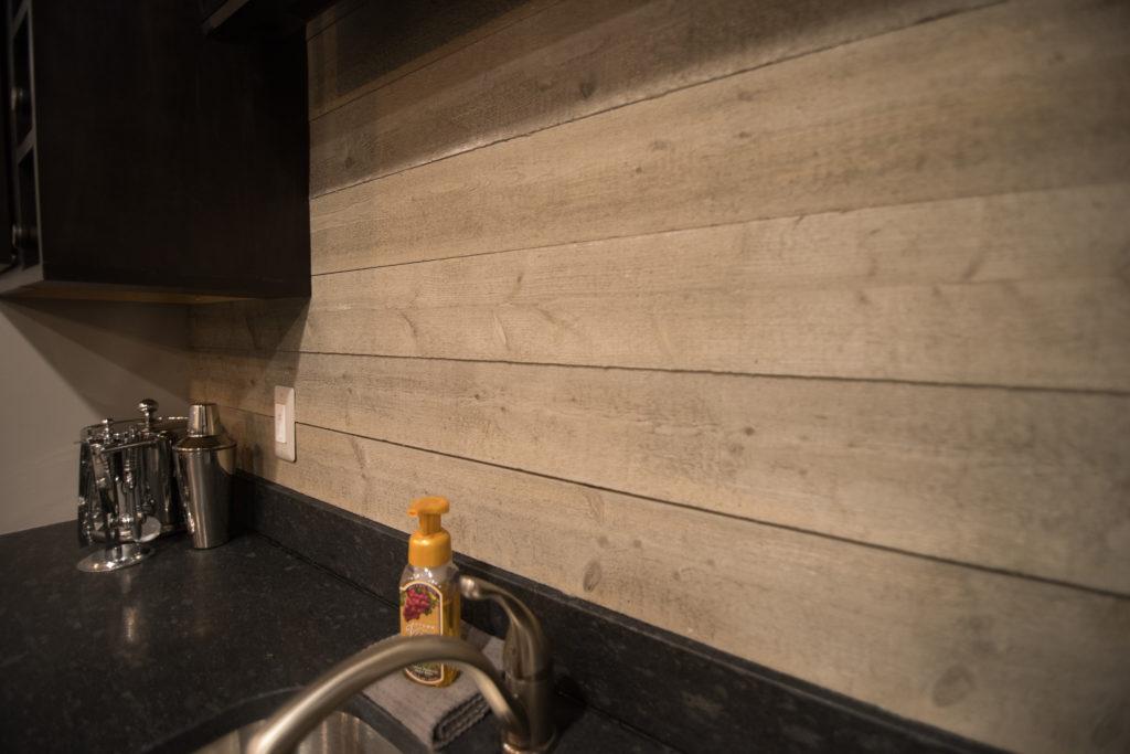 ship lap as backsplash for basement bar