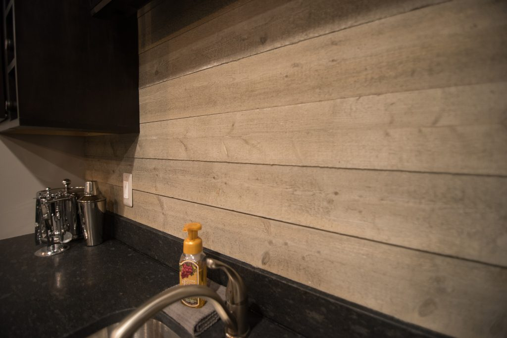ship lap as backsplash for basement bar
