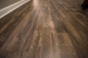finished basement traditional wood flooring dark brown