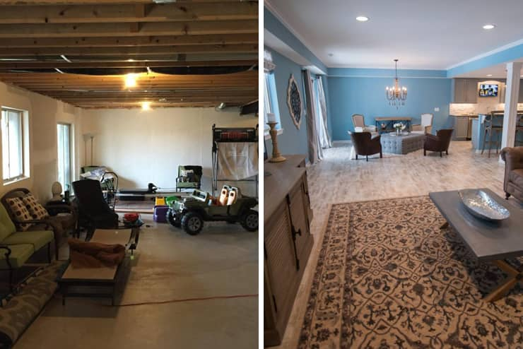 south lyon finished basement with bright inviting colors and flooring