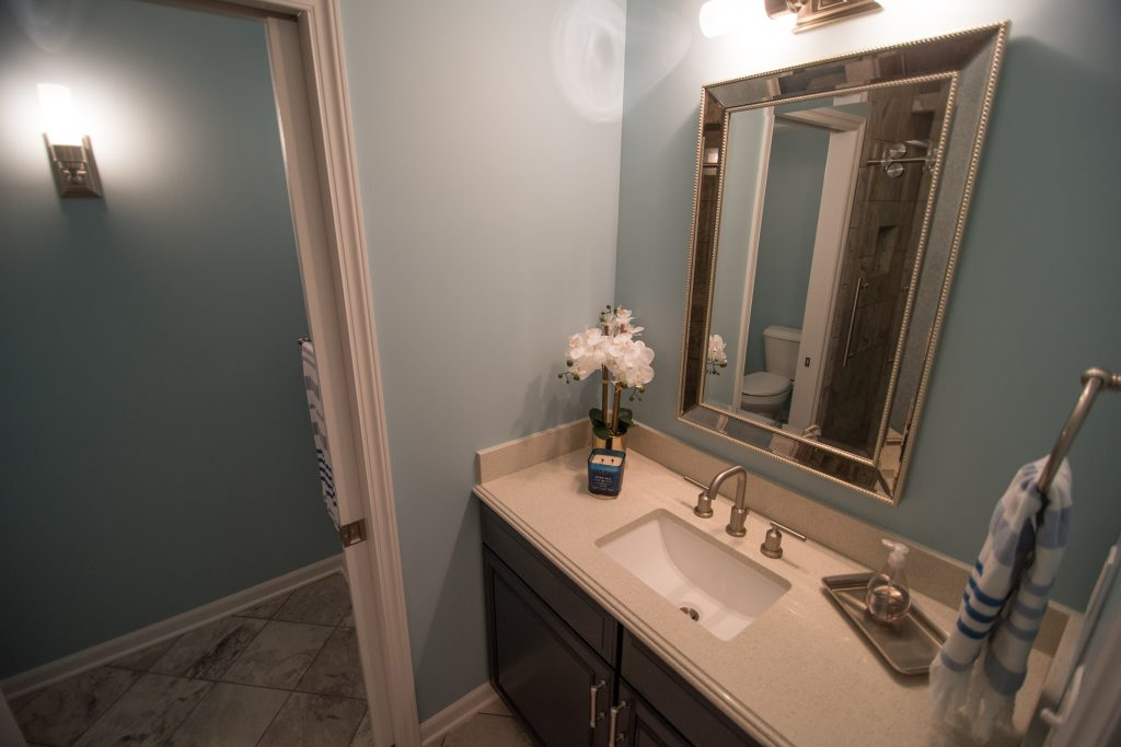 basement bathroom with granite vanity top and cabinetry