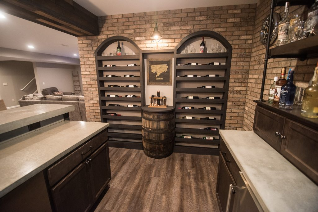 vinyl plank flooring with a custom arched wine rack