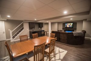 open floorplan in basement with views of every space