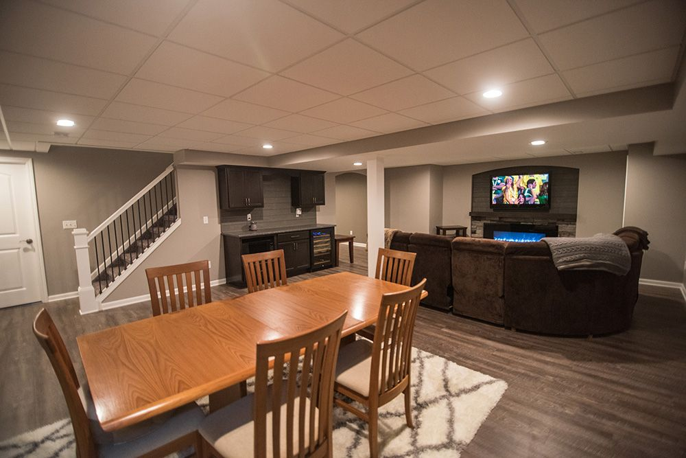 Northville Mi Basement Remodel With Small Bar And Living Room