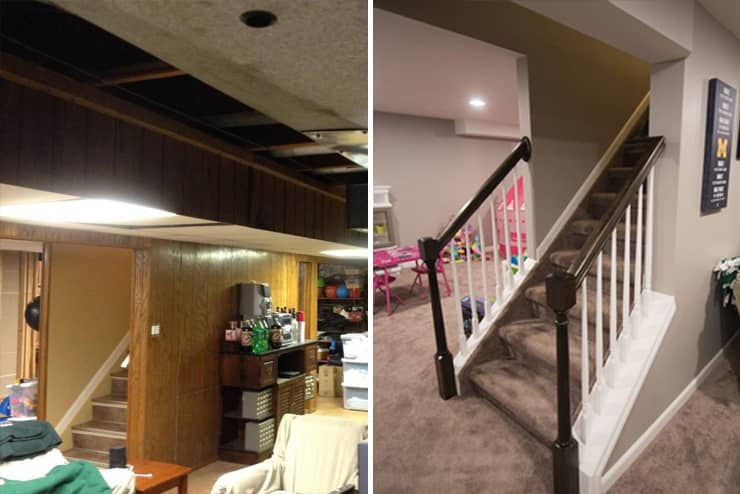 before and after image of basement staircase remodel