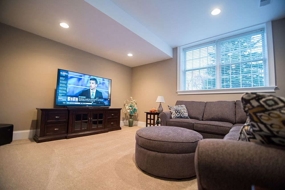 cozy basement living room with carpet and TV