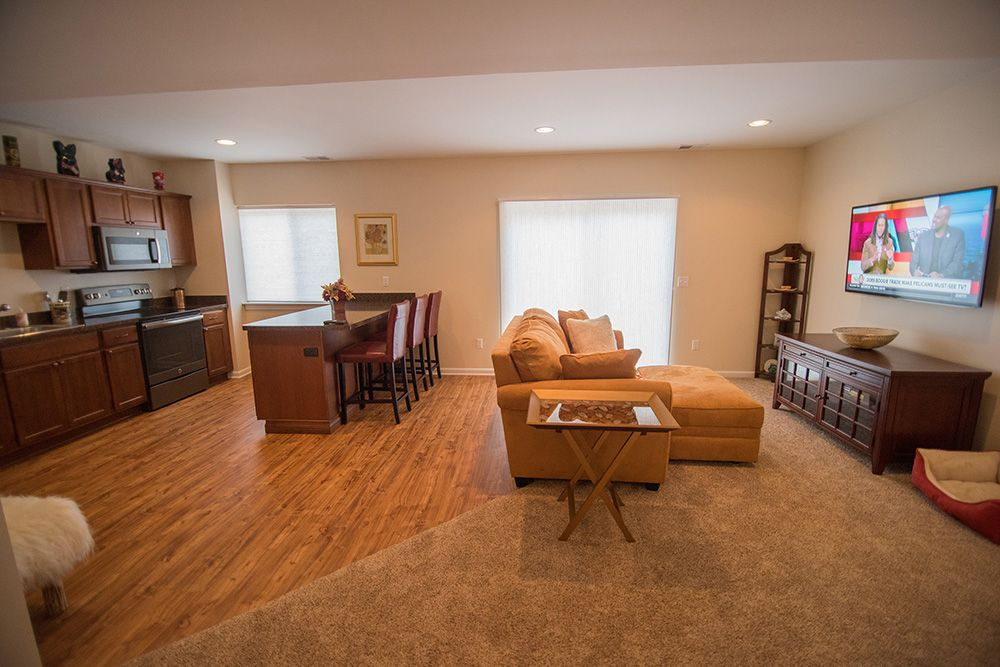 finished basement with vinyl plank flooring and carpet
