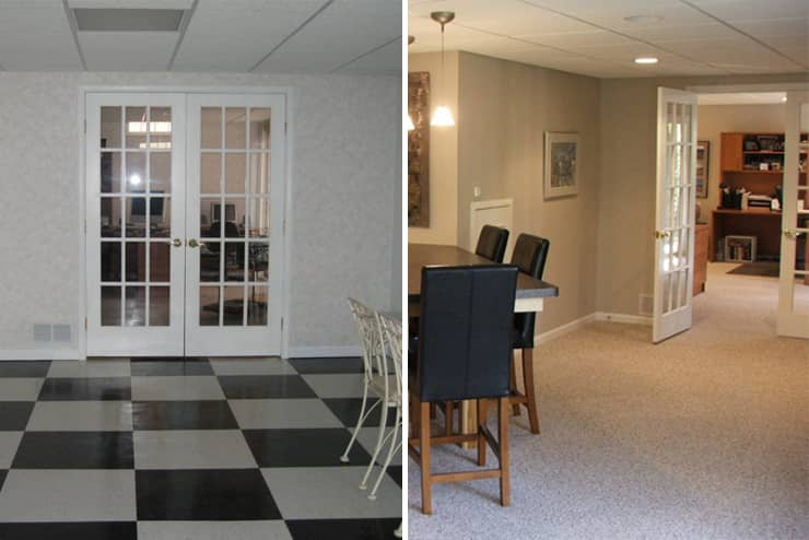 before and after image of west bloomfield basement