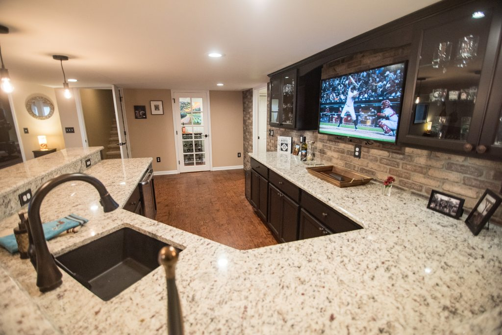 large custom basement bar with extra seating