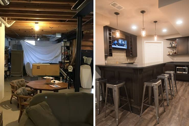 wixom michigan finished basement before after