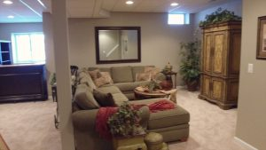 Couch in a finished basement