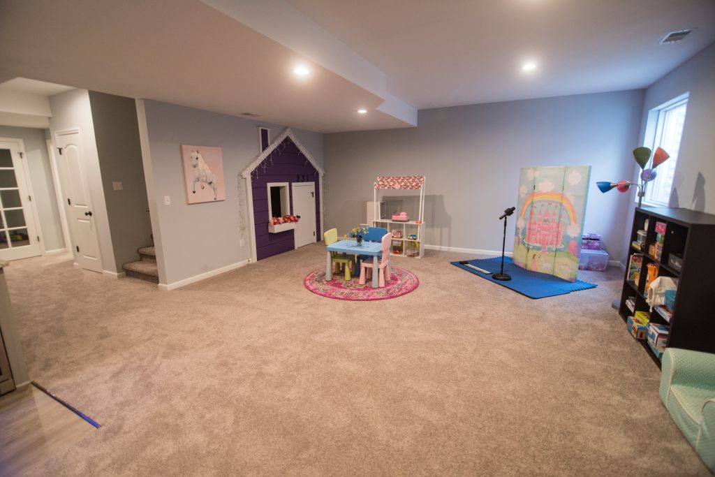 finished basement with dedicated play area for kids