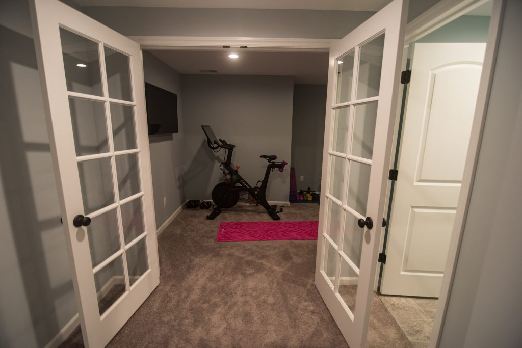 french doors fitness room