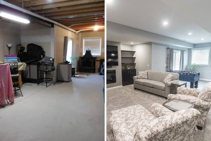 before and after of basement with modern design