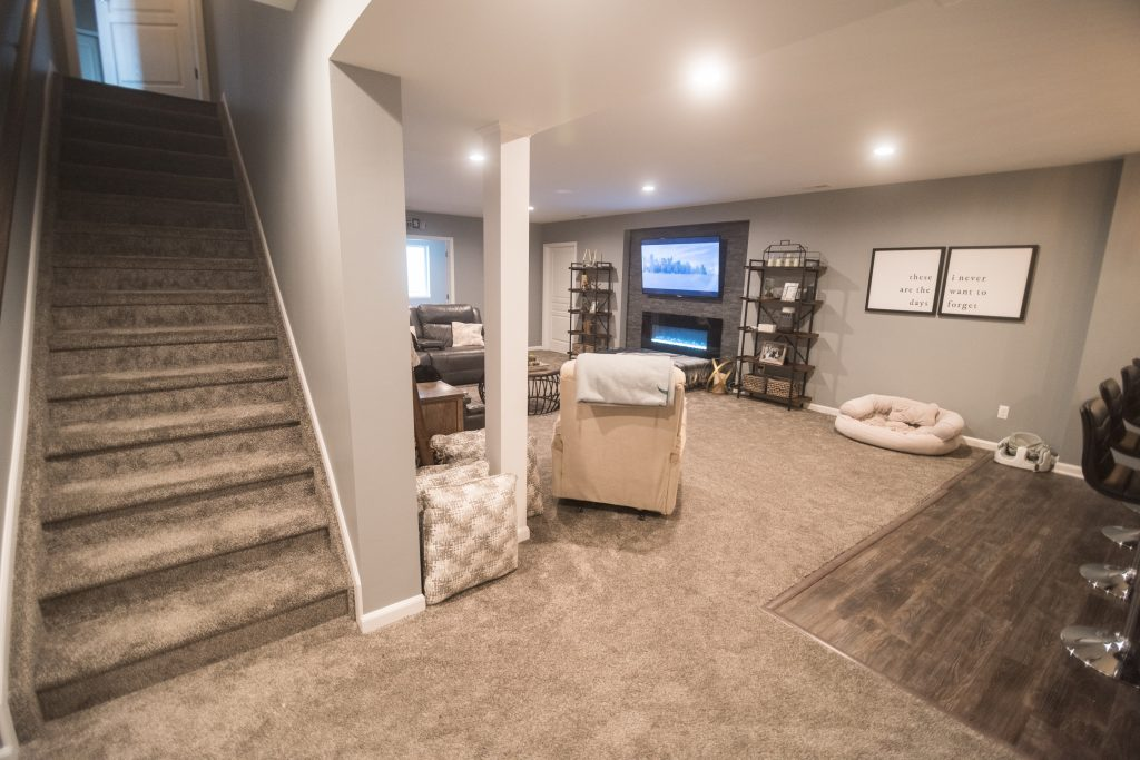 finished basement in south lyon, MI with large open living room
