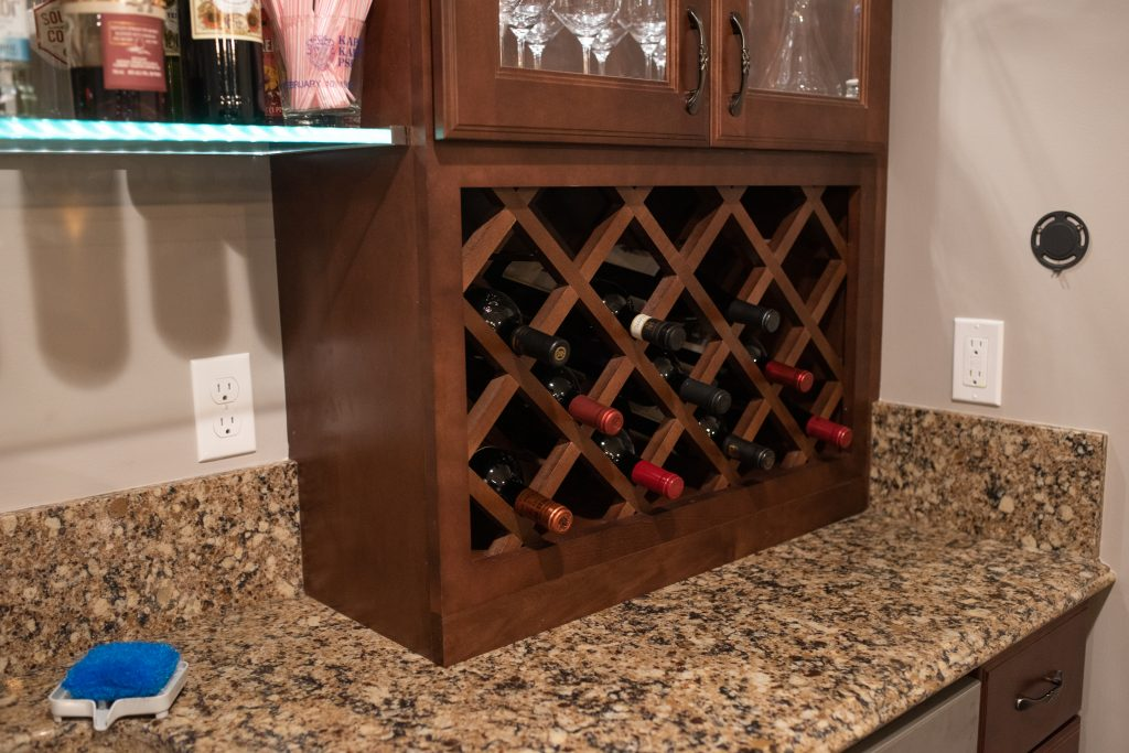 wine rack in bar