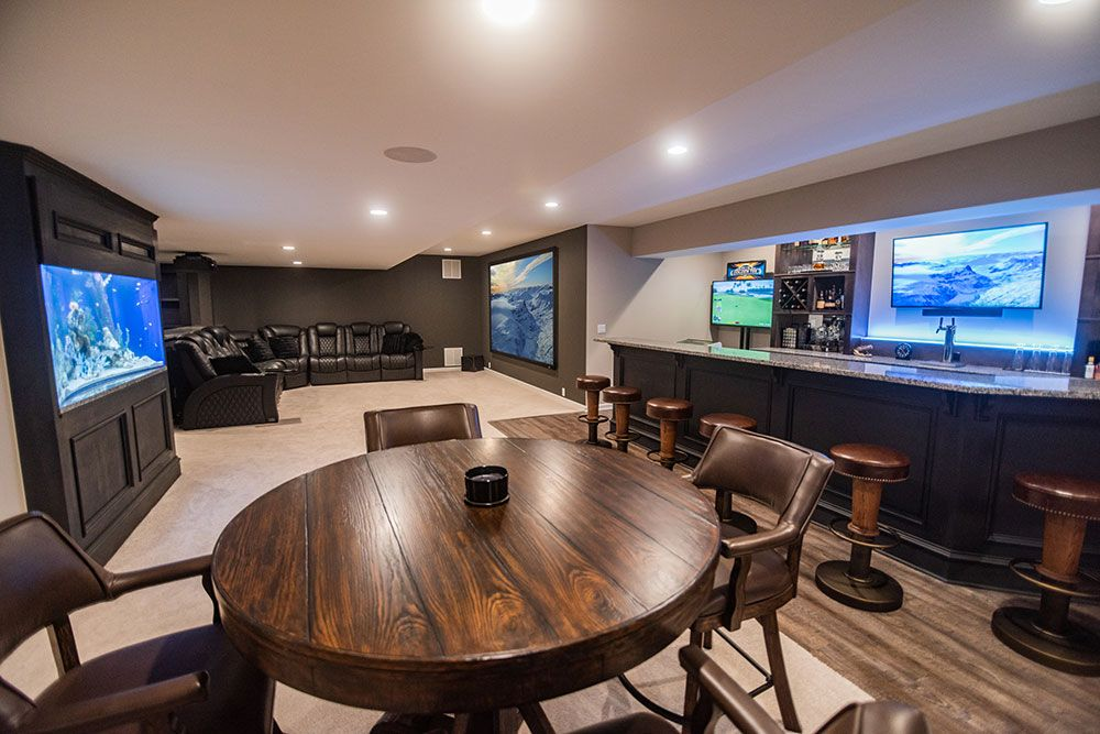 basement finishing novi fish tank custom bar