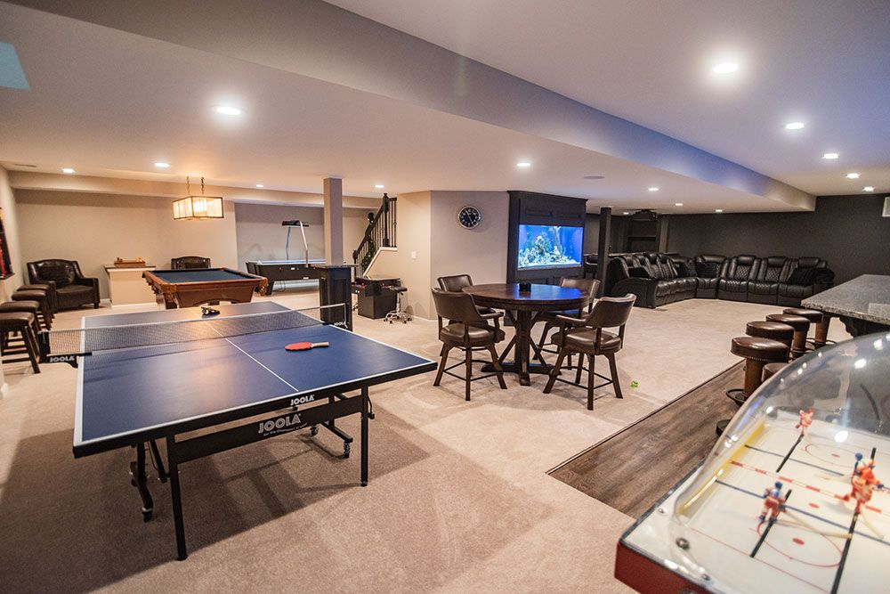 bright open gaming design basement finishing novi michigan