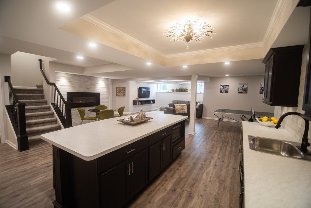 overview of basement with finished bar and living room