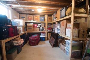 Dedicated storage area after basement remodel