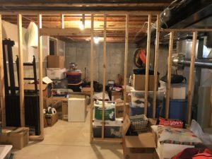 Unfinished basement storage boxes everywhere!
