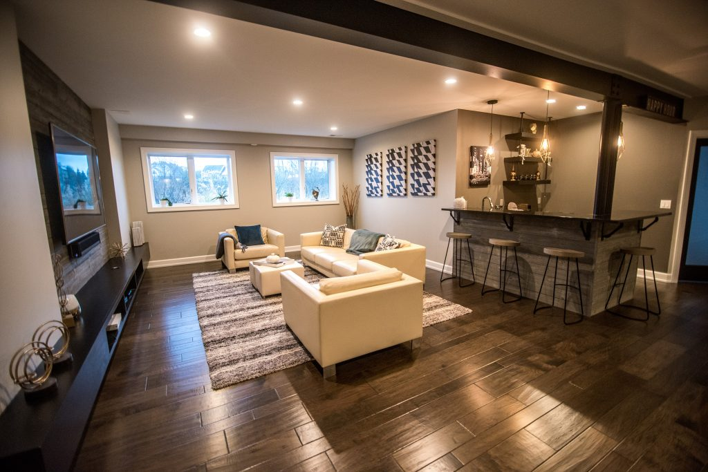 modern wood and metal basement design