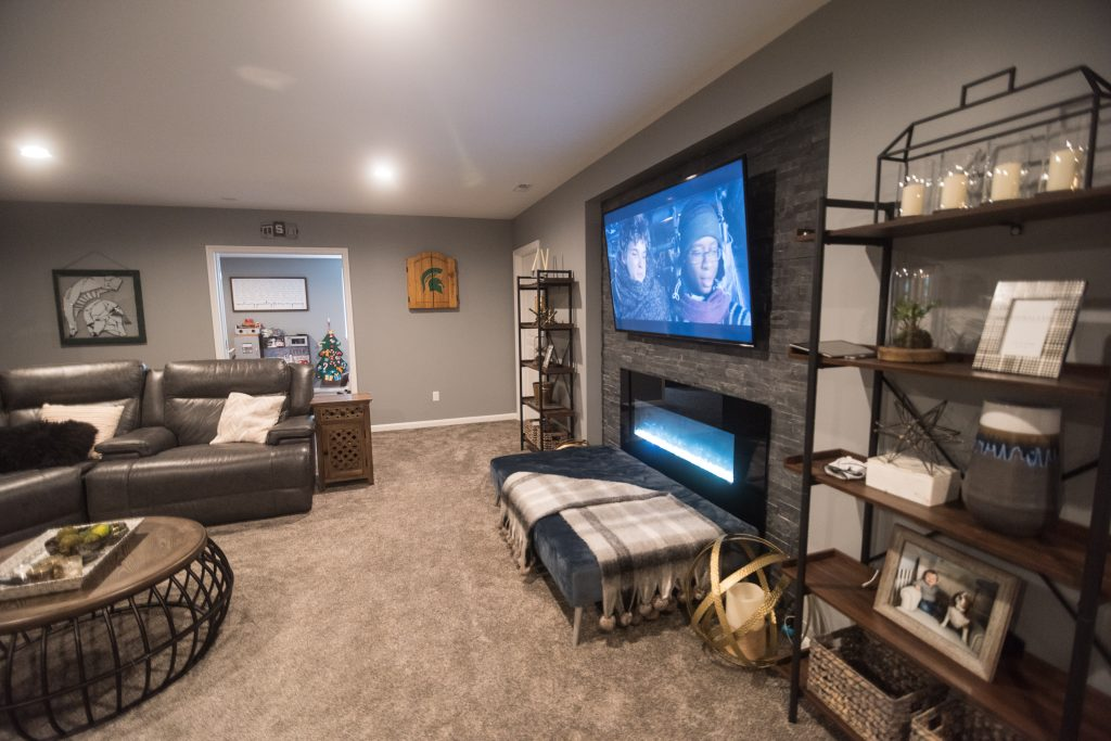 rustic farmhouse inspired basement