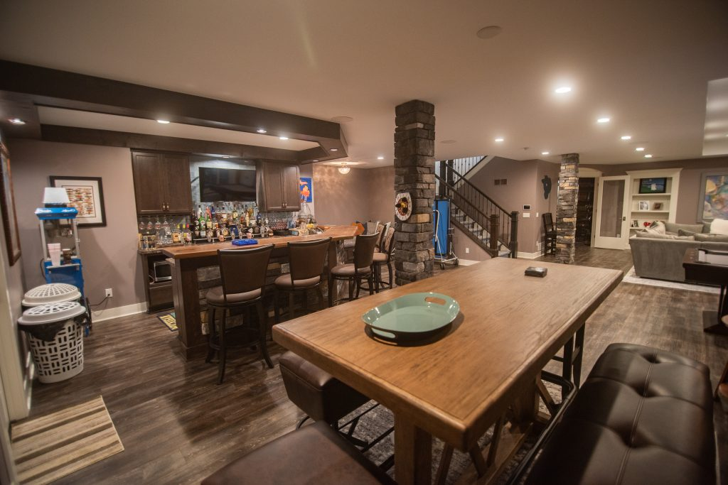 home bar with large seating area