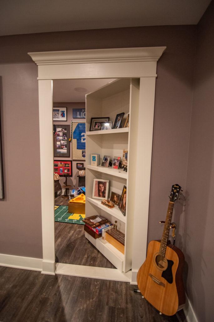 secret bookcase door leading to hidden room