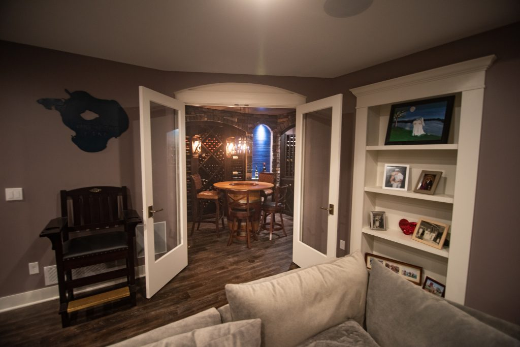 French door leading into private wine cellar