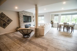 Northville, Michigan basement with warm and earthy tones and trends